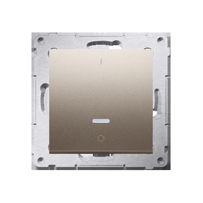 Schalter zweipolig mit LED und Aufdruck Gold matt Kontakt Simon 54 Premium DW2L.01/44