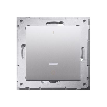 Schalter zweipolig mit LED und Aufdruck Silber matt Kontakt Simon 54 Premium DW2L.01/43