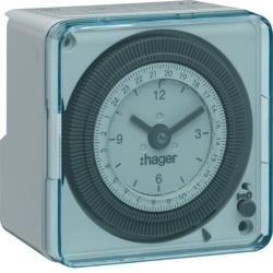 Schaltuhr elektromechanisch 72x72 ohne Gangreserve Tagesuhr 1S 16A Hager EH712