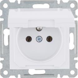 Steckdose mit Erdungund und Deckung, 16 A/250 VAC, weiß WL1120 Lumina Hager