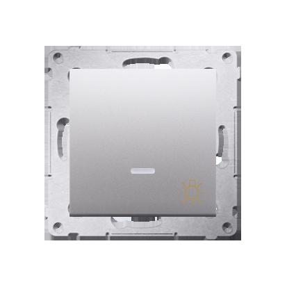 """Taster 1fach (Modul) mit Aufdruck """"Licht"""" und LED Silber Kontakt Simon 54 Premium DS1L.01/43"""