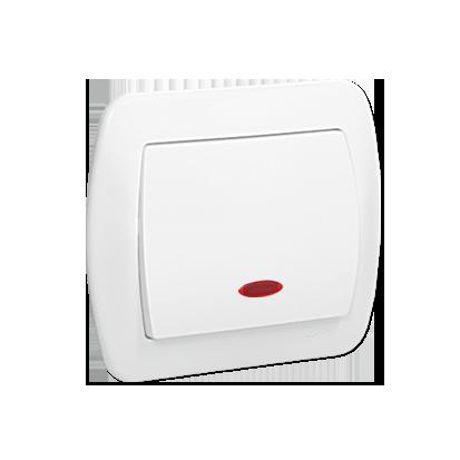 Taster/ Schließer 1polig mit Linse weiß glänzned10AX Kontakt Simon AW1L/11