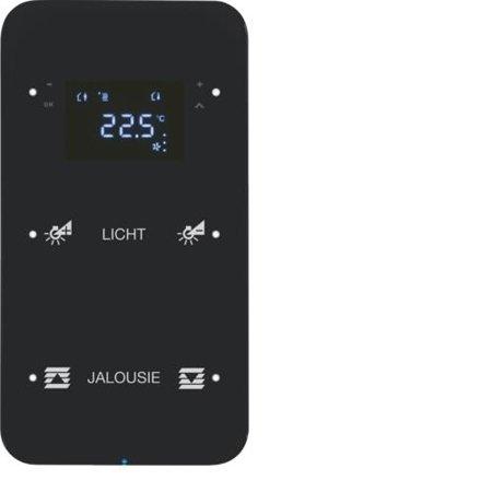 Touchsensor 2fach mit Temperaturregler R.1 Glas konfiguriert schwarz Hager 75642165