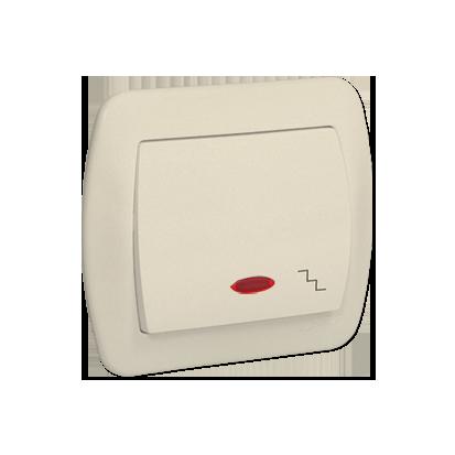 Treppentaster 1fach 10AX beige matt beleuchtet Kontakt Simon AW6L/12