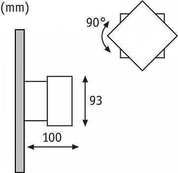 Wandaufbauleuchte, Außen Cybo LED quadratisch grau ruchomy 2x3W 2700K 213lm IP65 Paulmann
