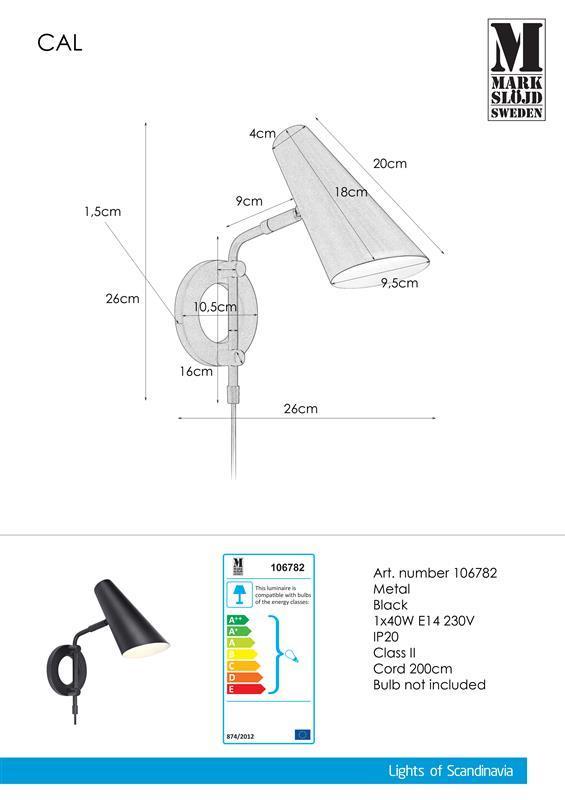 Wandleuchte Wandlampe schwarz CAL 40W E14 Markslojd 106782