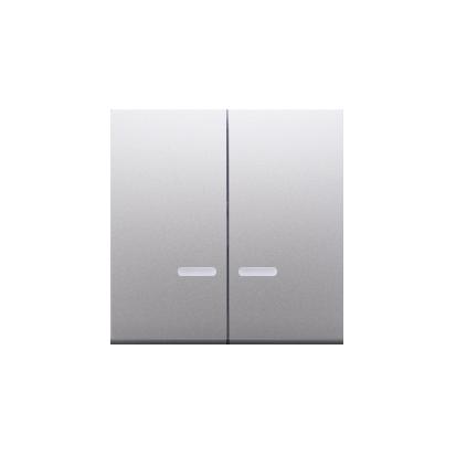 Wippen für Schalter/Taster 2fach mit roter Linse Silber matt Simon 54 Premium Kontakt Simon DKW5L/43